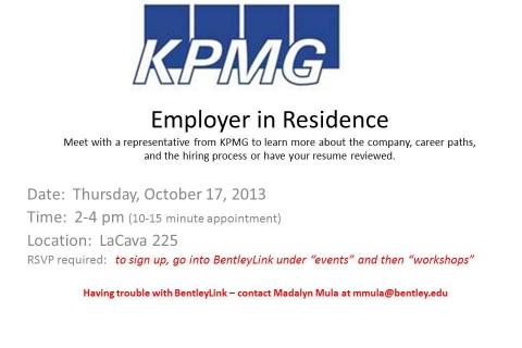 KPMG  Employer in Residence October 17, 2013