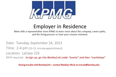 KPMG  Employer in Residence September 24, 2013