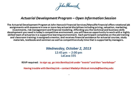 John Hancock Actuarial  Development  Program Open Info
