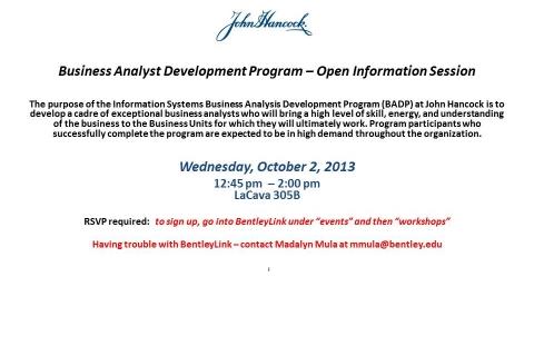 John Hancock Business Analyst Development Program Open Info