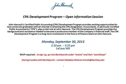 John Hancock CPA Development Program Open Info