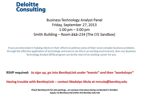 Deloitte Consulting – Business Technology Analyst Panel UPDATED