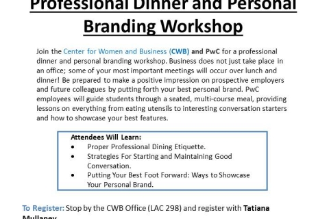 Professional Dinner and Personal Branding Workshop