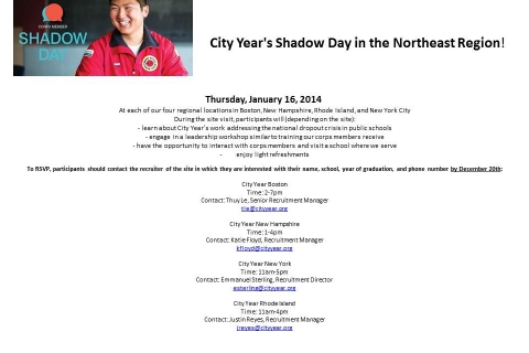 City Year's Shadow Day in the Northeast Region