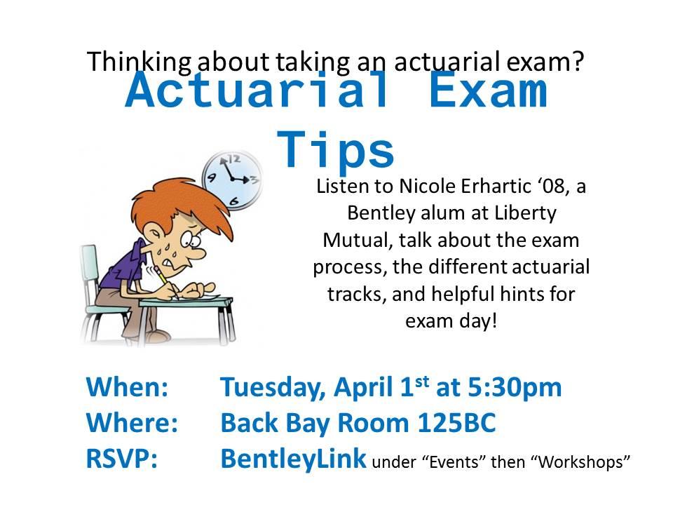 Actuarial Exam Prep Session On 4 1 Bentley CareerEdge