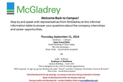 McGladrey Open Event & Employer in Residence