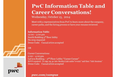 PWC – October 15th Open Event Table and Career Conversations – updated