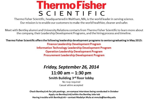 Thermo Fisher Scientific Open Event-Table