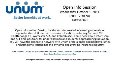 Unum Open Info Session