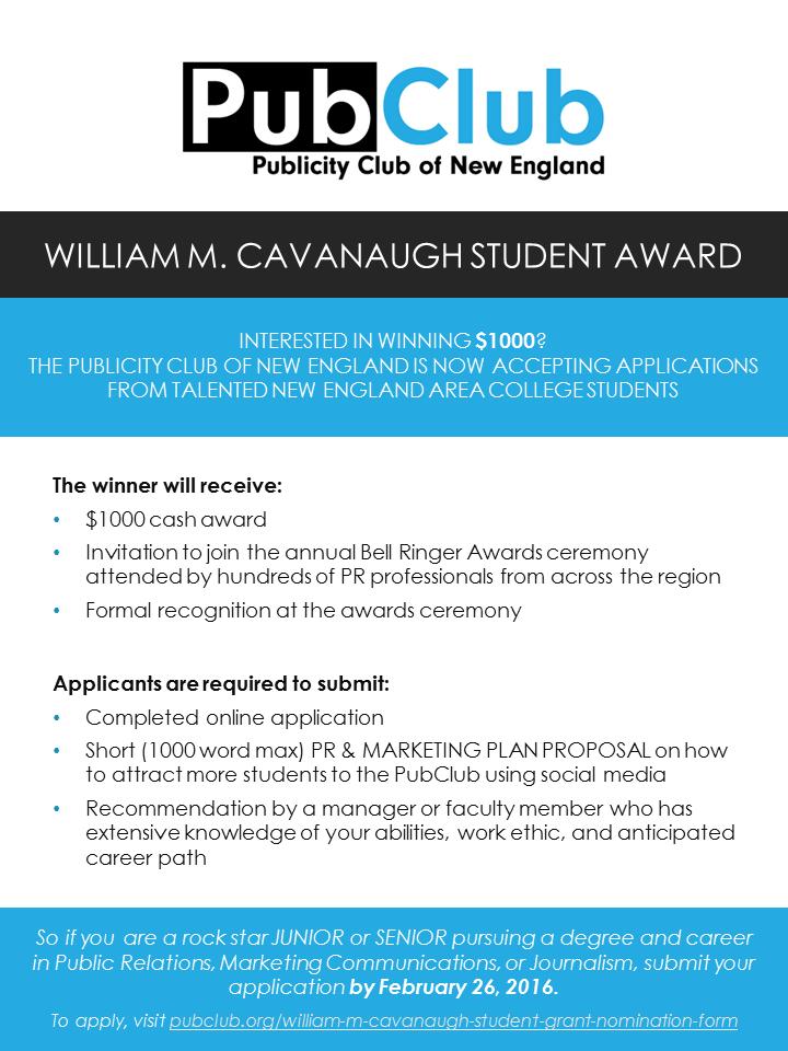 Cavanaugh Award Flyer