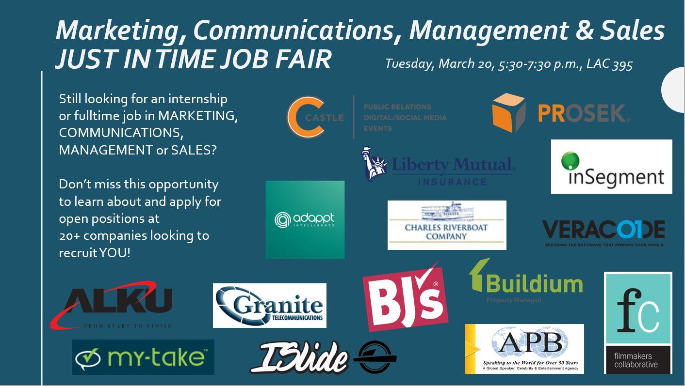 marketing communications management and sales job fair bentley