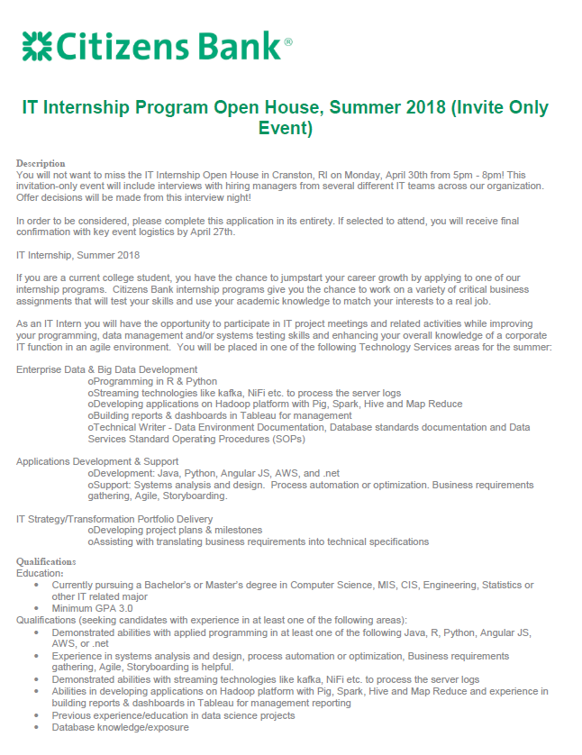 citizens bank it internship program open house summer 2018 invite