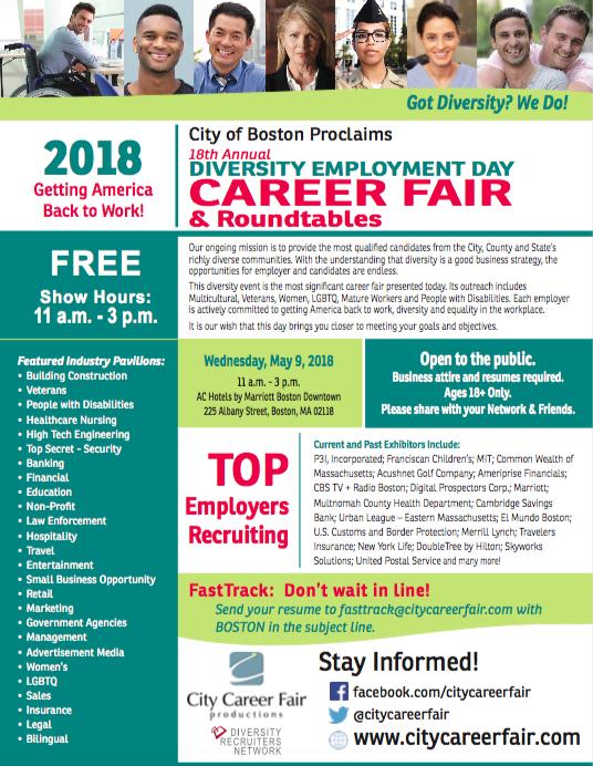 Boston\'s 18th Annual Diversity Employment Day Career Fair — OFF ...