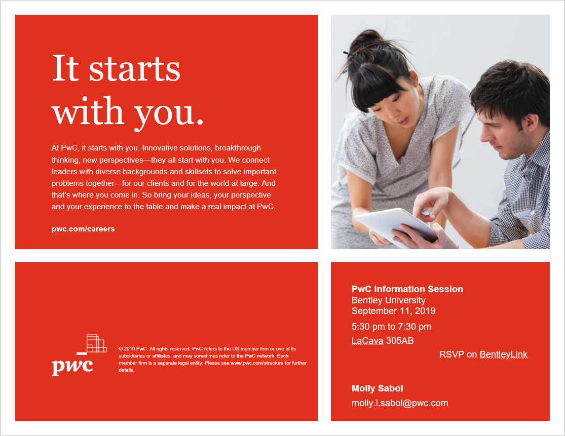 PwC Open Information Session – RSVP required – Bentley
