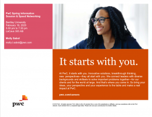 PricewaterhouseCoopers Info Session & Line of Service Speed Networking - RSVP required