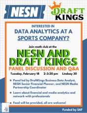 Bentley Math Club Presents: Data Analytics at a Sports Company with NESN and DraftKings