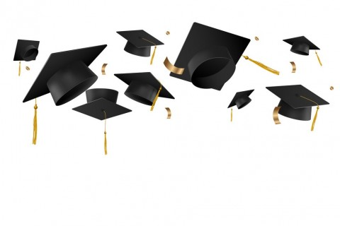 Graduation caps in the air vector template isolated on white background.