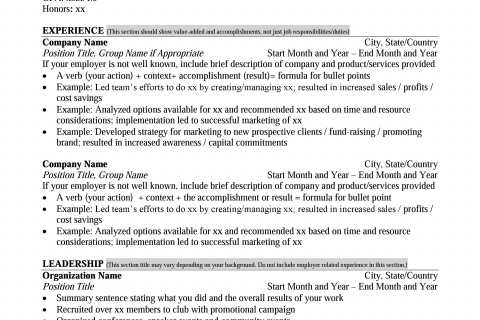 mays masters resume format career management center mays