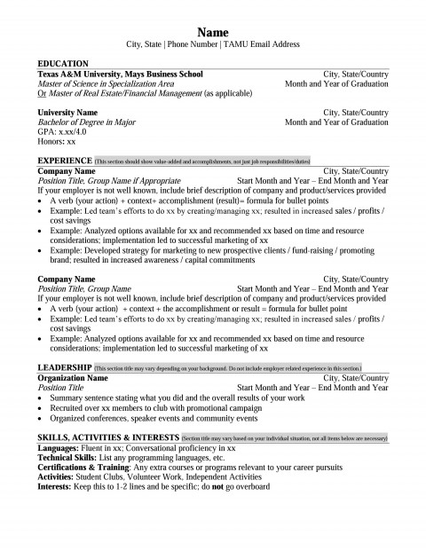 mays masters resume format  u2013 career management center