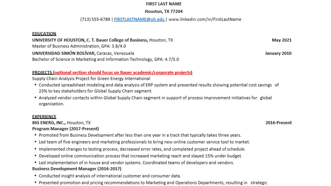Bauer Mba And Ms Resume Template Rockwell Career Center