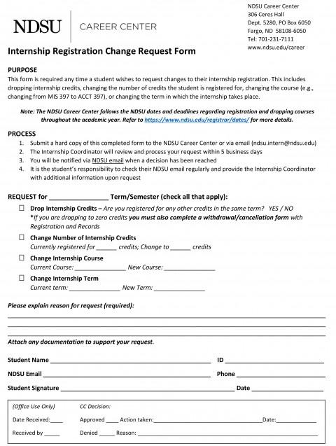 Internship Registration Change Request Form