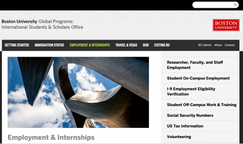 BU Global Programs: International Students and Scholars Office – Employment and Internships