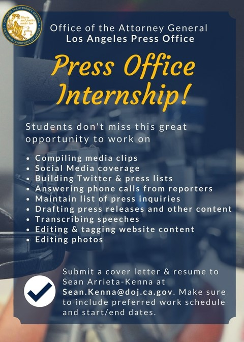 Press Office Internship U2013 CA Dept. Of Justice U2013 UCLA Extension Career Center