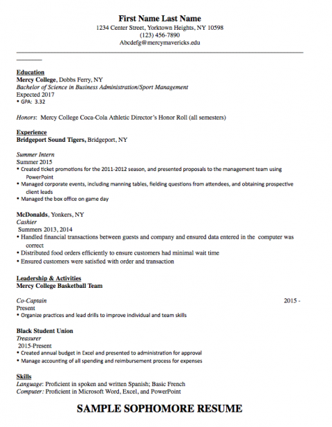 Sample Sophomore Resume Template – Career and Professional ...