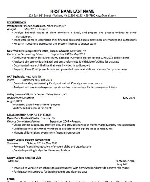 Sample Mba Resume Career And Professional Development