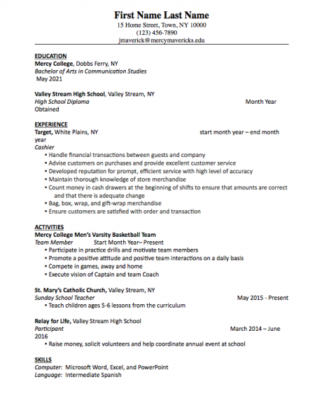 resume for freshman in college
