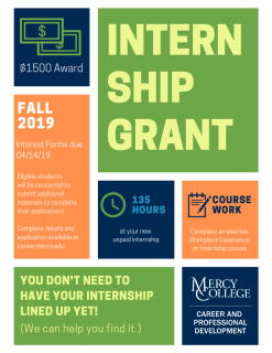 Internship Grant Flyer Fall 2019