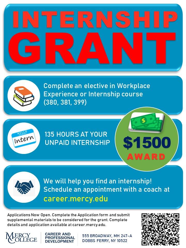 Internship Grant Fall 2020 Flyer