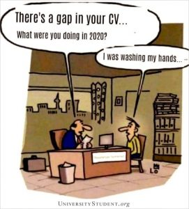 Employment gap on resume cartoon