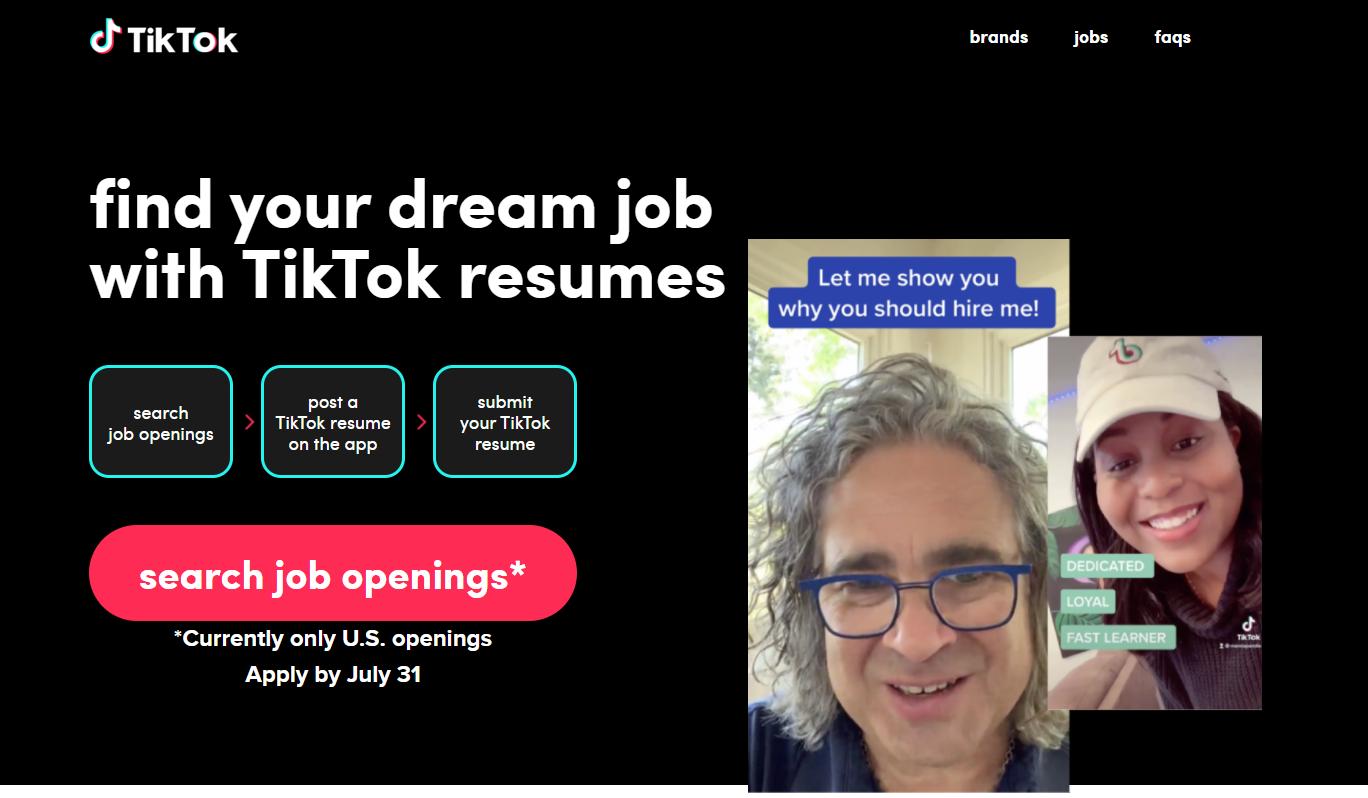 TikTok Resume Home Page