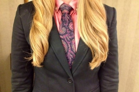 long hair and suit with tie