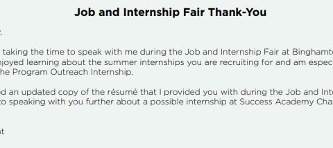 Job and Internship Fair – Thank you Note