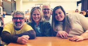 Group photo of Chris Palahniuk, Sophie Shogren, Dr. Kurt Olson, and Zoe Larson