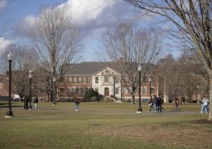 Students walk across the Student Union Mall near the Castleman Building.