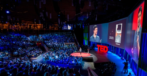 A zoomed out view of a TED talk with the audience to the left, the speaker on a red-carpeted stage in the middle and the projection screen on the right.