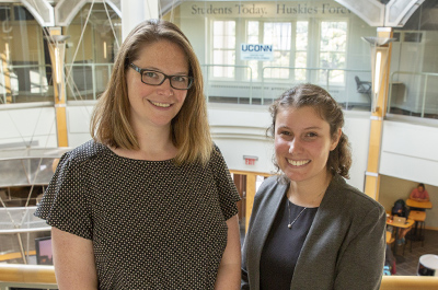 CLAS Career Consultants Lisa Famularo '18 MA (right) and Kristen Soprano '04 (CLAS) in the Wilbur Cross Building on September 17, 2018. (Bri Diaz/UConn Photo)