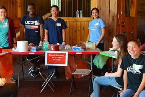Volunteers at a UConn Health Migrant Farm Worker Clinic.