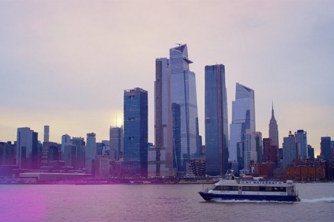 Skyline view of lower Manhattan from the Hudson River.
