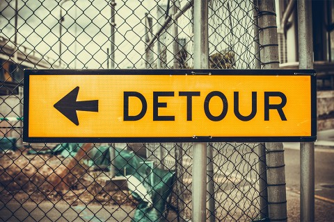 Detour street sign