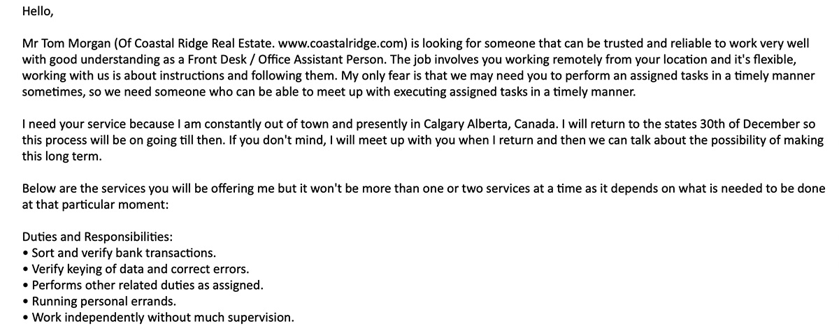 Fraudulent Employment Email Example - Job Description