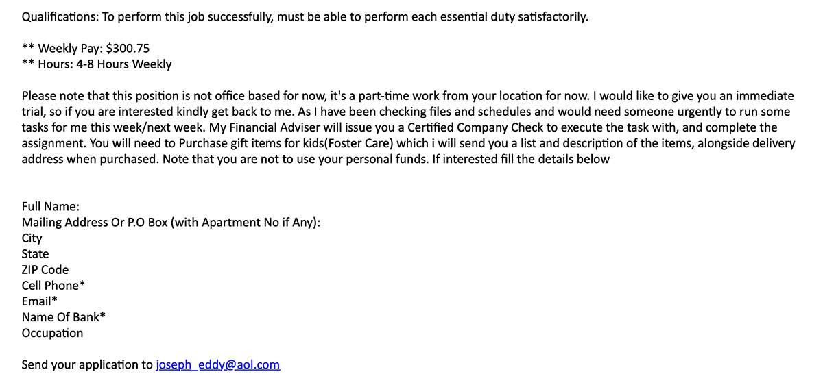 Fraudulent Employment Email Example - Call to Action