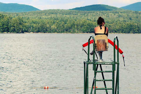 Lifeguard watching a lake.