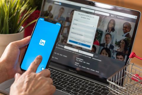 LinkedIn interface on desktop and mobile.