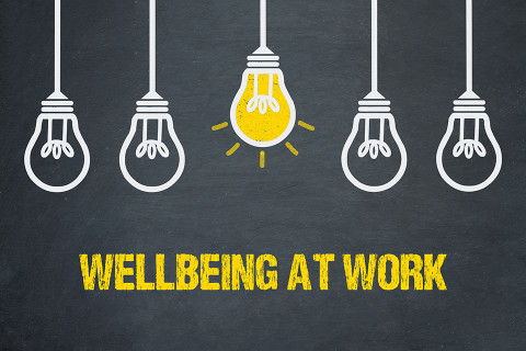 Wellbeing at work concept art.