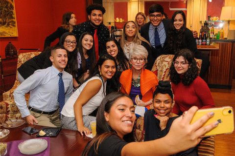 PRLACC students meeting with actor Rita Moreno.