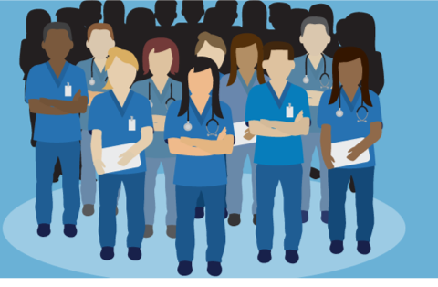 Drawing of medical professionals in scrubs.